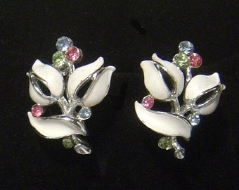 signed LISNER enamel and rhinestone Earrings