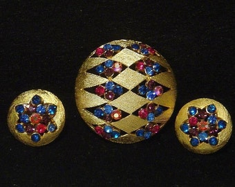 Vintage JJ Brooch pin and Earrings rhinestones LOVELY