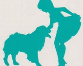 Australian Shepherd Dog and Pin Up Silhouette, Aqua Vinyl Decal