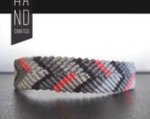 Gray, Black, and Magenta Chevron Bracelet