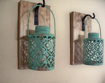 rustic turquoise lantern pair 2 wall decor bedroom wall decor wall