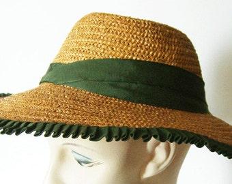 Vintage ROBERTS Widebrim Women's Summer Straw Hat