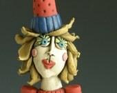 Party Girl, WOMAN SCULPTURE, Female, Sculpted Lady Figure, Art Doll, Human Form, Goddess, Girl, Porcelain Figure, Clay Figure