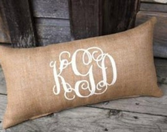 Custom monogrammed personalized pillow wedding gift couples