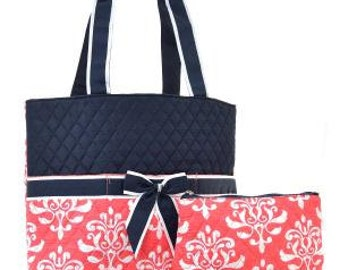 Coral Damask Quilted Diaper Bag with Personalized Embroidery