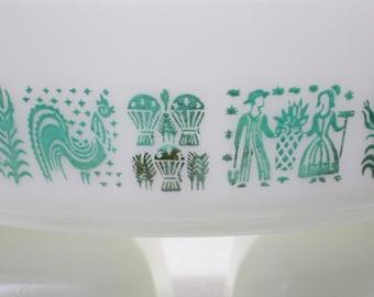 Pyrex Butterprint Amish Farmers Pattern Cinderella Tab Handles #471 One Pint Casserole Dish Aqua