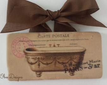 Victorian Clawfoot Bathtub Vintage Style French Postcard Paris Marble Subway Tile Bathroom Sign with a Brown Linen Like Bow Ribbon Hanger