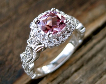 Tanzanian Pink Spinel Engagement Ring in Platinum with Diamonds in Flower Buds and Leafs on Vine Size 6