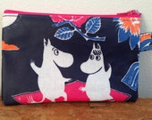 Moomin OIL CLOTH coin purse, wallet, travel, passport pouch, from Finland, navy blue