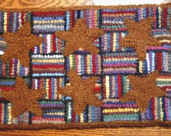 Six Rusty Stars Primitive Rug Hooking Kit on LINEN with Cut Wool Strips