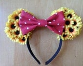 Sunflower Minnie Ears With Red Polka Dot Bow