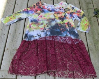 upcycled tunic top ladies M-L artsy refashion burgandy lace uneven hem