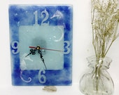 Fused glass  Seahorse Wall Clock - blue tons painted clock