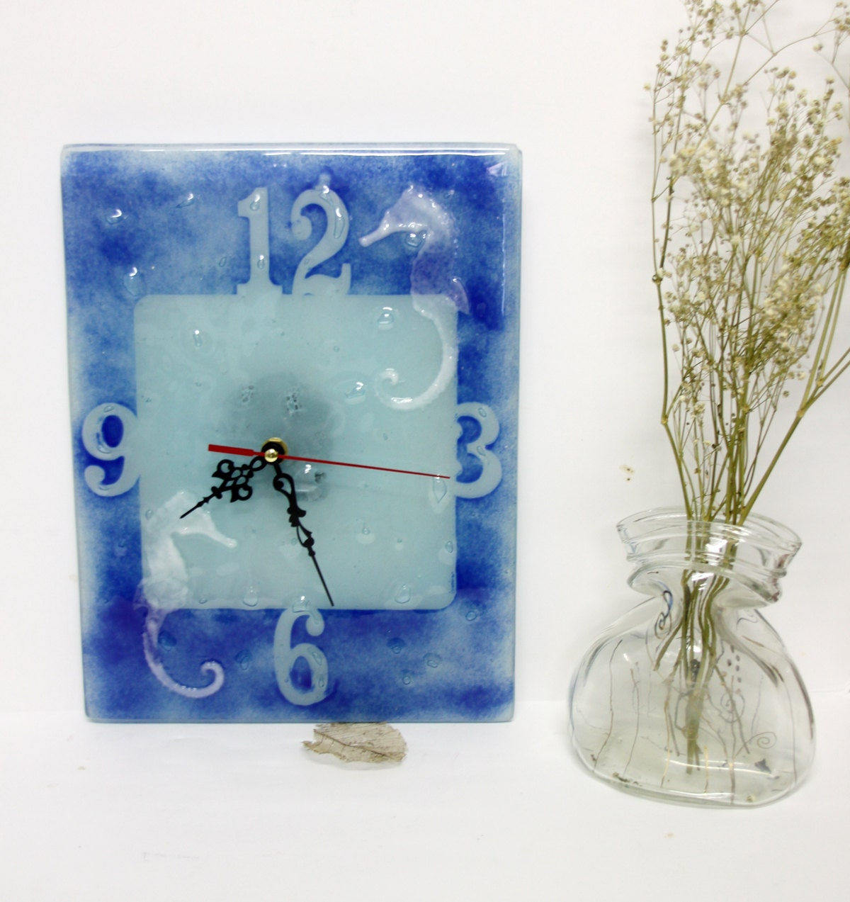 fused glass seahorse wall clock blue tons painted clock