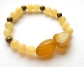 Honey Yellow Agate and Citrine Quartz Stackable Bracelet