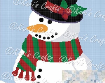 Cute Holiday Snowman Afghan PDF Pattern Graph + Written Instructions - Instant Download