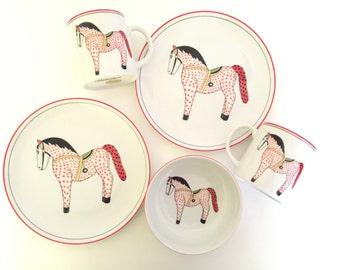 GIDDYUP! Vintage Child's Porcelain Plate Bowl & Mug Set - Rare - Andrea by Sadek Winterthur Interpretation - Red and Black Spotted Toy Horse