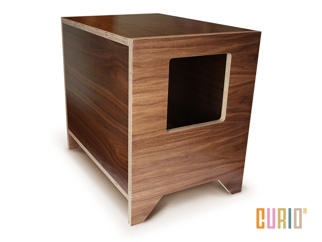 Curio in walnut modern cat litter box designer cat by curiosf - Modern kitty litter box ...
