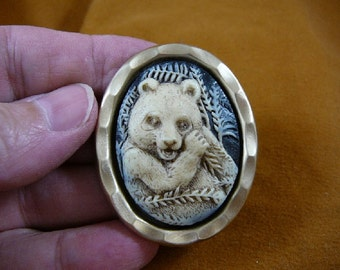 Giant Panda bear eating bamboo lunch leaves black and ivory oval CAMEO love pandas lover brass Pin pendant Brooch jewelry CN-3