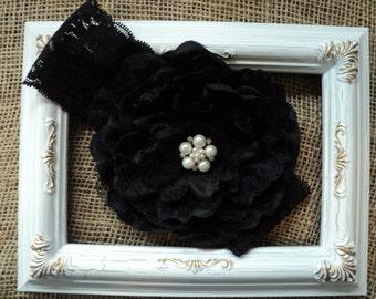 "Ready to ship Baby Toddler Girl new Black Lace Headband 5"" peony lace flower w/pearls rhinestones Flower Girl, Birthday, Wedding, Photo Prop"