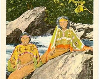 Vintage Postcard - Cherokee Maidens at Great Smoky Mountains National Park (Unused)