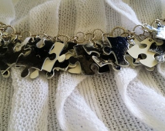 black and white puzzle peice bracelet