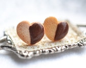 Heart shaped chocolate dipped shortbread cookie earrings -Handmade miniature food jewelry-Scented gift