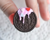 Scented Mini Valentines day Oreo Cookie Ring Miniature food jewelry