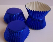 MINI Blue Foil Baking Cups- Candy Liners- Choose Set of 50 or 100