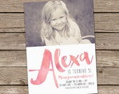 Girl Birthday Invitation : Watercolor or Faux Gold Foil Printable Custom Birthday Girl Invite