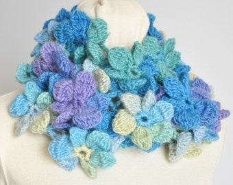 Floral Infinity - Blue - Crochet Multicolor 3D Flower Infinity Circle Scarf