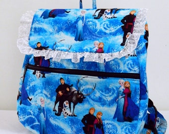 Children's School Backpack made with Frozen Elsa and Anna fabric