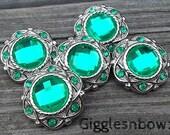 Sale Rhinestone Buttons- 5 Pc Vintage Style BRiGHT KeLLY Green 25mm Flower Centers, Headband Supplies, DIY Supplies