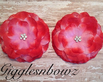 Set of 2 Gorgeous PiNK with RED Ruffled Rhinestone Flowers
