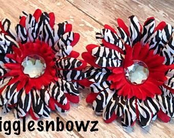 Zebra Daisies- 2pc Rhinestone Silk Gerbera Daisy Flower Heads Red w Zebra- DIY Headband Supplies- Fabric Flowers- Craft Supplies