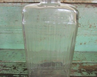 Vintage Antique Ribbed Clear Glass REFRIGERATOR Water BOTTLE