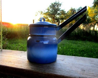 Vintage royal blue Enamel Enamelware double boiler small pot coffee pot