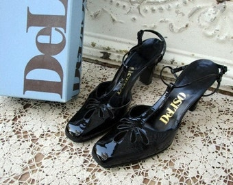 Vintage Deliso Black Sling Back High Heel Patent Leather W/Box sz 8.5 AAA