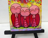 Jizo Painting - mini original - Jizos Sending Peace