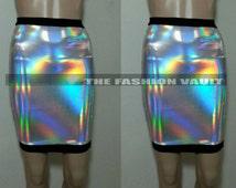 Iridescent High Waist holographic Pencil skirt Loving hologram Clubwear