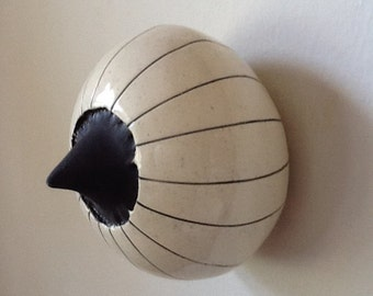 Black and White Round Ceramic Sprout Wall Pod
