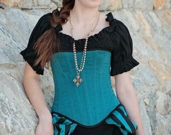 Short Sleeve Shirt, Chemise, Peasent Blouse, Black, Steampunk, Renaissance,