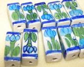 Rectangle Blue Flower Porcelain Beads Lot of 10