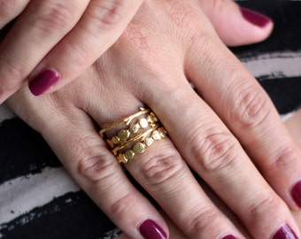Gold Pebble Ring , Stacking Ring , Midi Ring , Knuckle Ring , Sterling Silver Ring