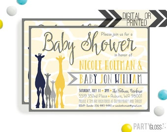Giraffe Baby Shower Invitation | Digital or Printed |  Jungle Baby Shower | Jungle Invitation |  Safari Invite | Baby Giraffe Shower