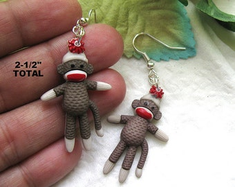 Sold SOCK Monkey dangle earrings mono miniature cute animal teen women collectible MINI Kawaii collector shower favor birthday favors gift