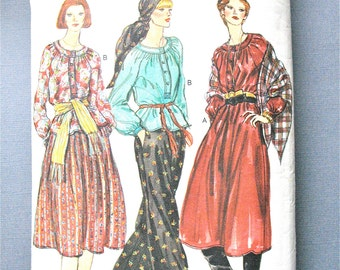 Vogue 9679 late 1970s Misses' Top, Dress, Skirt, Pants & Shawl Loose-fitting, A-line pullover Boho Vintage Sewing Pattern  Waist 26.5 Hip 36