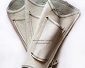 WHITE Leather Steampunk Parasol Holster with Fan Pocket