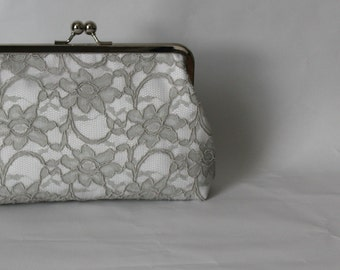 Bridal Clutch - Wedding Clutch - Wedding Purse - Grey and White Lace Clutch - Bridesmaids Clutch - Bridesmaids Gift - Isabella Clutch