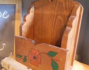 Vintage Rustic Wooden Letter Desk Organizer ~ Carved flower ~ Farm House Primitive